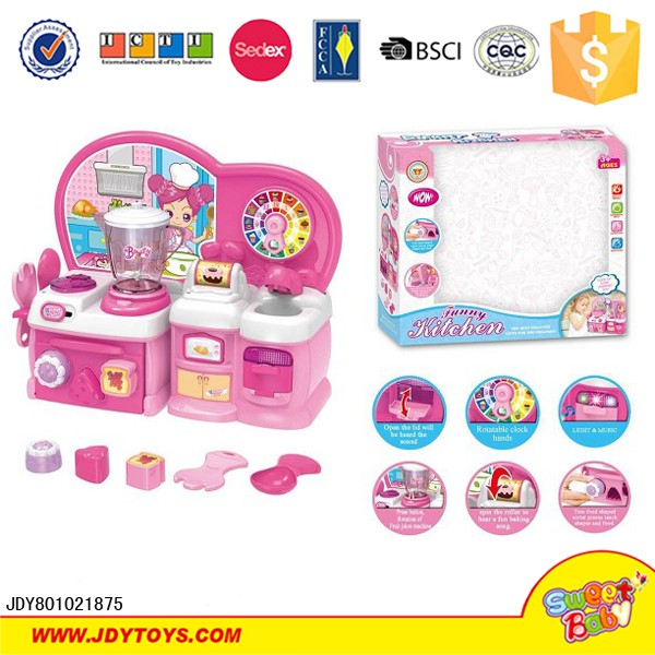 Cartoon Cooking Game Set For Girls Battery Operated Kitchen Set Toy