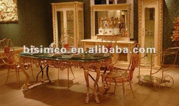 NEW ITEM Luxury Italy Style Antique Dining Room Furniture Set Glass Top 24K