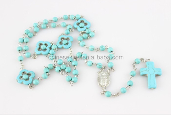 Handmade Blue Turquoise Catholic Rosary Necklace,Navajo Turquoise Rosary Necklace