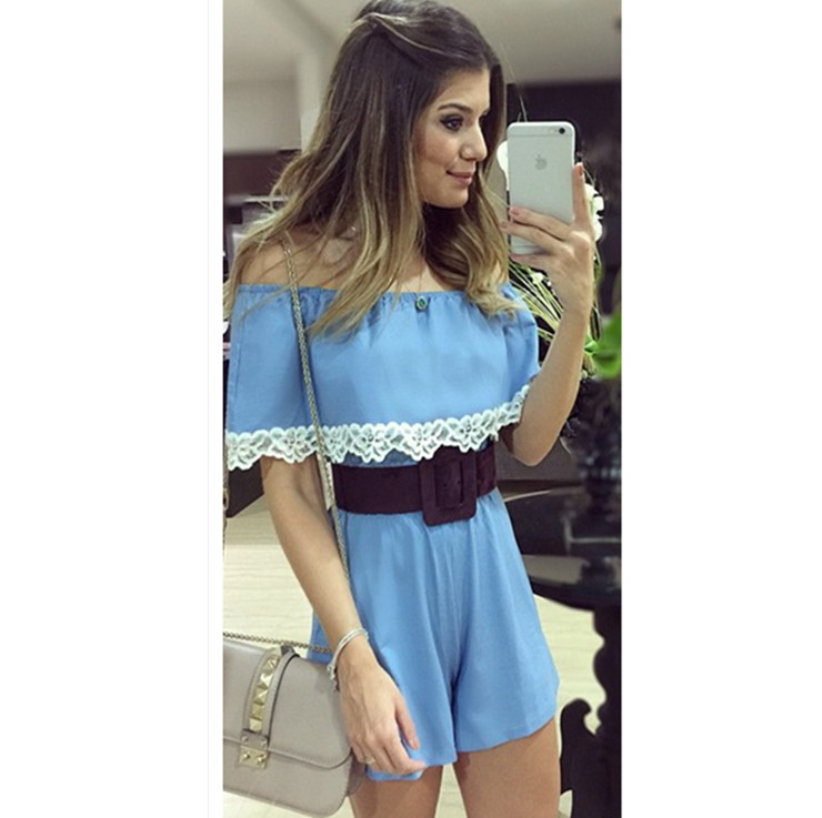 0ad6ada32e25 Get Quotations · New elegant Women Jumpsuits Playsuit Shorts Rompers Summer  style 2015 playsuits slash neck blue color macacao