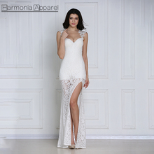 FL500 white sheer small tail lace trim on shoulder open back lace evening dress