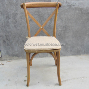 Natual Rattan seat Bistro Side Chair,cross back wooden chairs.stackable chairs.