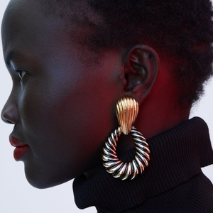 Kaimei black gold stripe metal water drop statement dangle earrings 2018 new Pendientes big za vintage metal dangle earrings