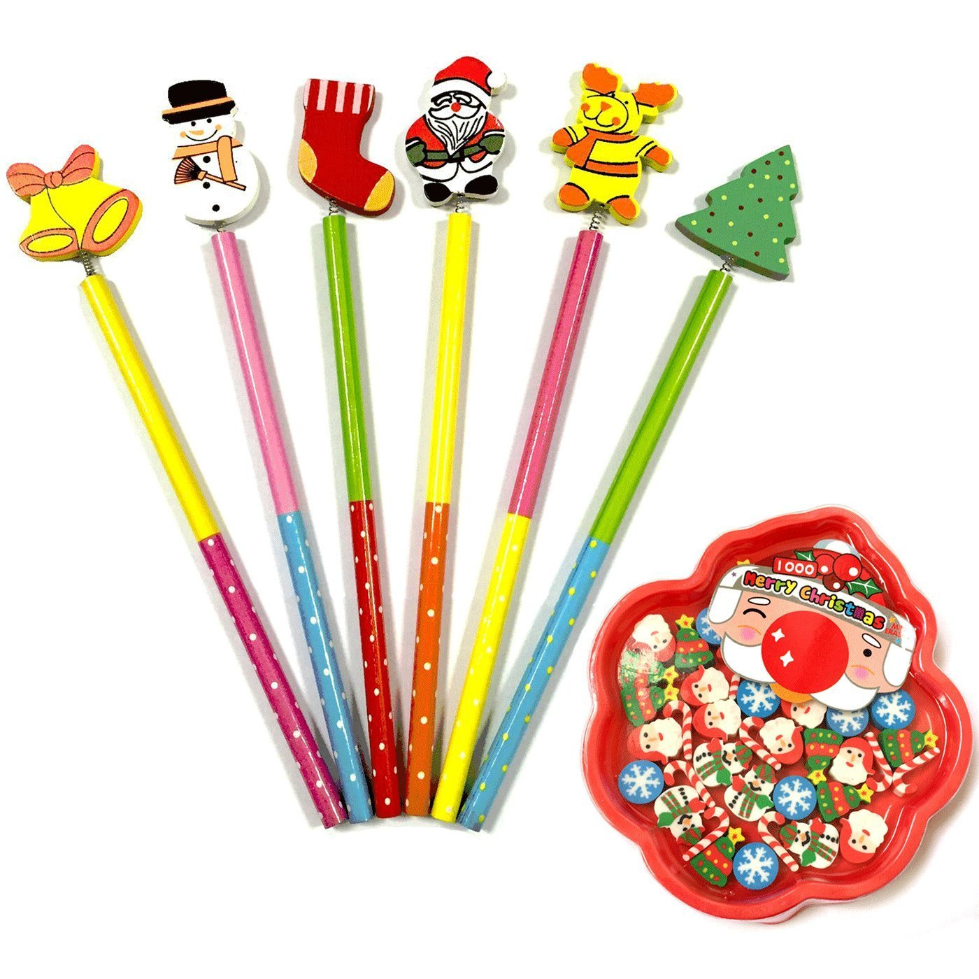 OPOCC Kid's Students Christmas Gift Set, Mini erasers rubber, 6pc wood Christmas theme decoration pencils,Classroom giveaways, Cute Cool Novelty Christmas Cartoon Decor Pencil Office School Supplies