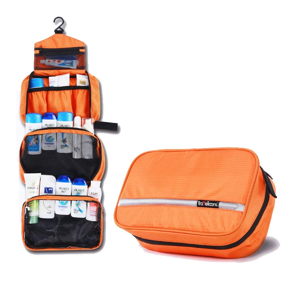 ea211a81a84 Get Quotations · YMCAFZ Travel Toiletry Bag - Compartments Portable and  Folding Cosmetic Bags with Hook Organizer Bags for