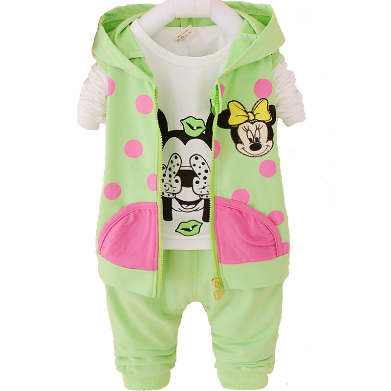 2015 Fashion Baby Girl Clothing Sets Long Sleeve + Legging Autumn Kids Toddler Girls Clothes Sets Hello Kitty Minnie
