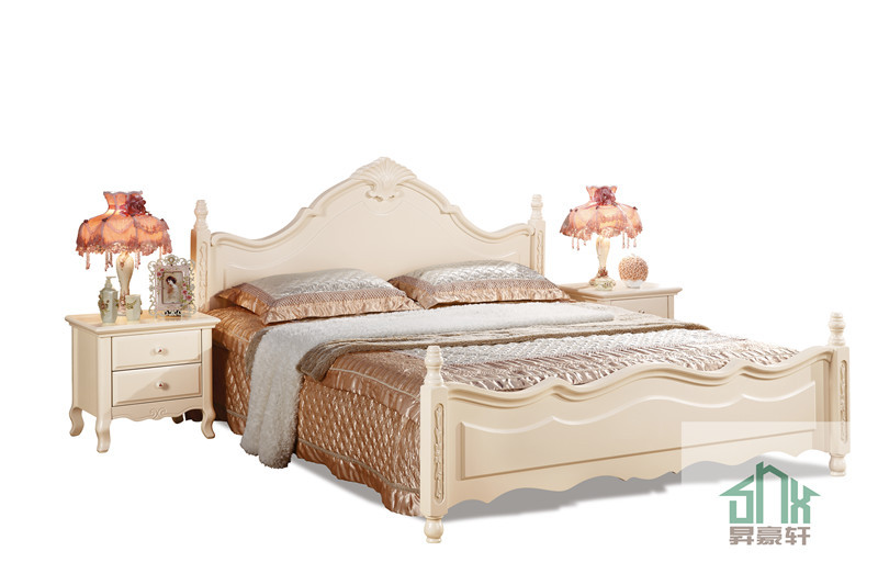 White Wooden Box Bed Design HA 823# Wooden Box Bed Wood Double Bed Designs