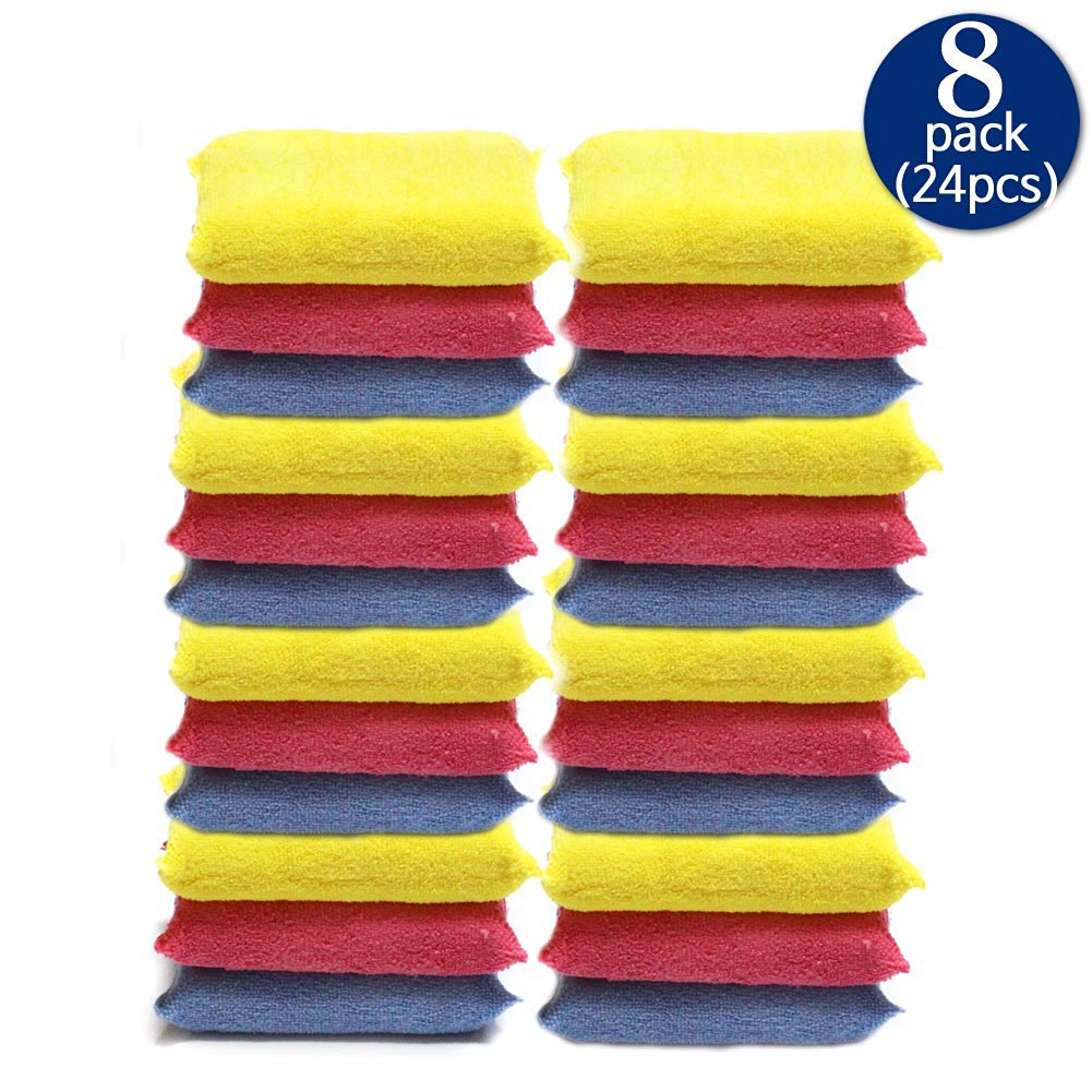 ** FREE SHIPPING& SALE 8 PACKS- 24 PCS ** Microfiber Handy Car Applicators - Wax & Polish & Detailing,No Scratches , 6x4x1.3 '' Korean Quality Guarantee