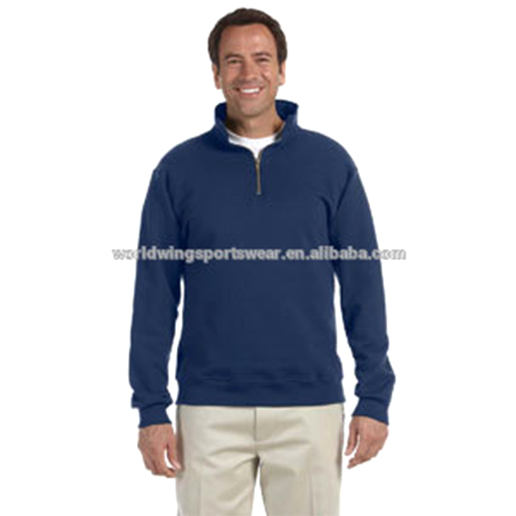 Mens navy blue 65% polyester 35% cotton set in sleeves half zip pullover