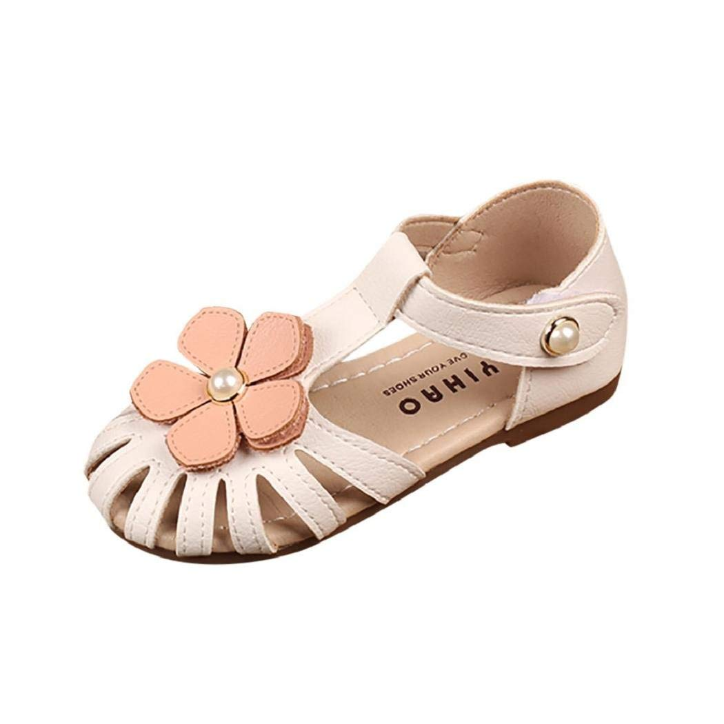 VECJUNIA Girls Flat Sandals Peep Toe Cut Out T-Strap Bows Dressy Party Shoes