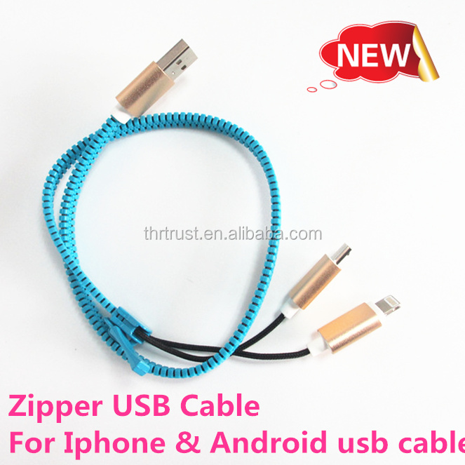2016 latest new Zipper usb cable custom cheap price usb cable manufacture usb charging for Iphone and Android