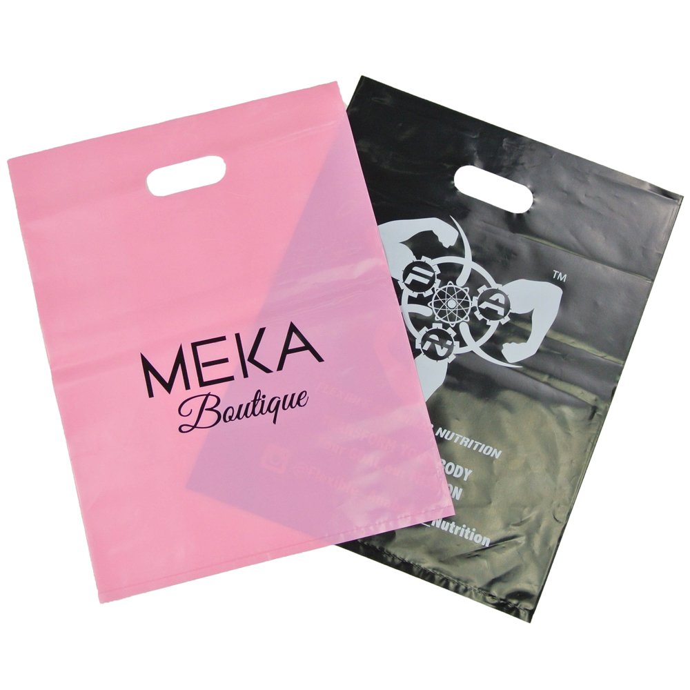 "20*30cm/8""x12"" custom personalized plastic shopping bags with your own logo die cut handle for gifts"