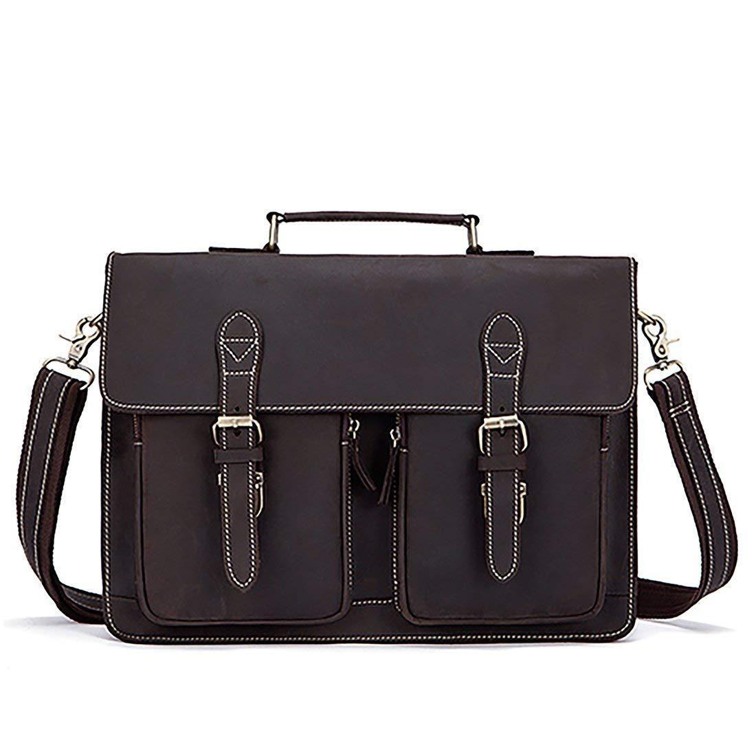 Get Quotations · Men Briefcase Crazy Horse Genuine Leather Handbags Office Messenger  Laptop Bag cd9610d1d4