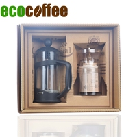 Ecocoffee Coffeeware Sets 350ml French Press Mini Portable Manual Coffee Grinder Household Gift Sets for Family