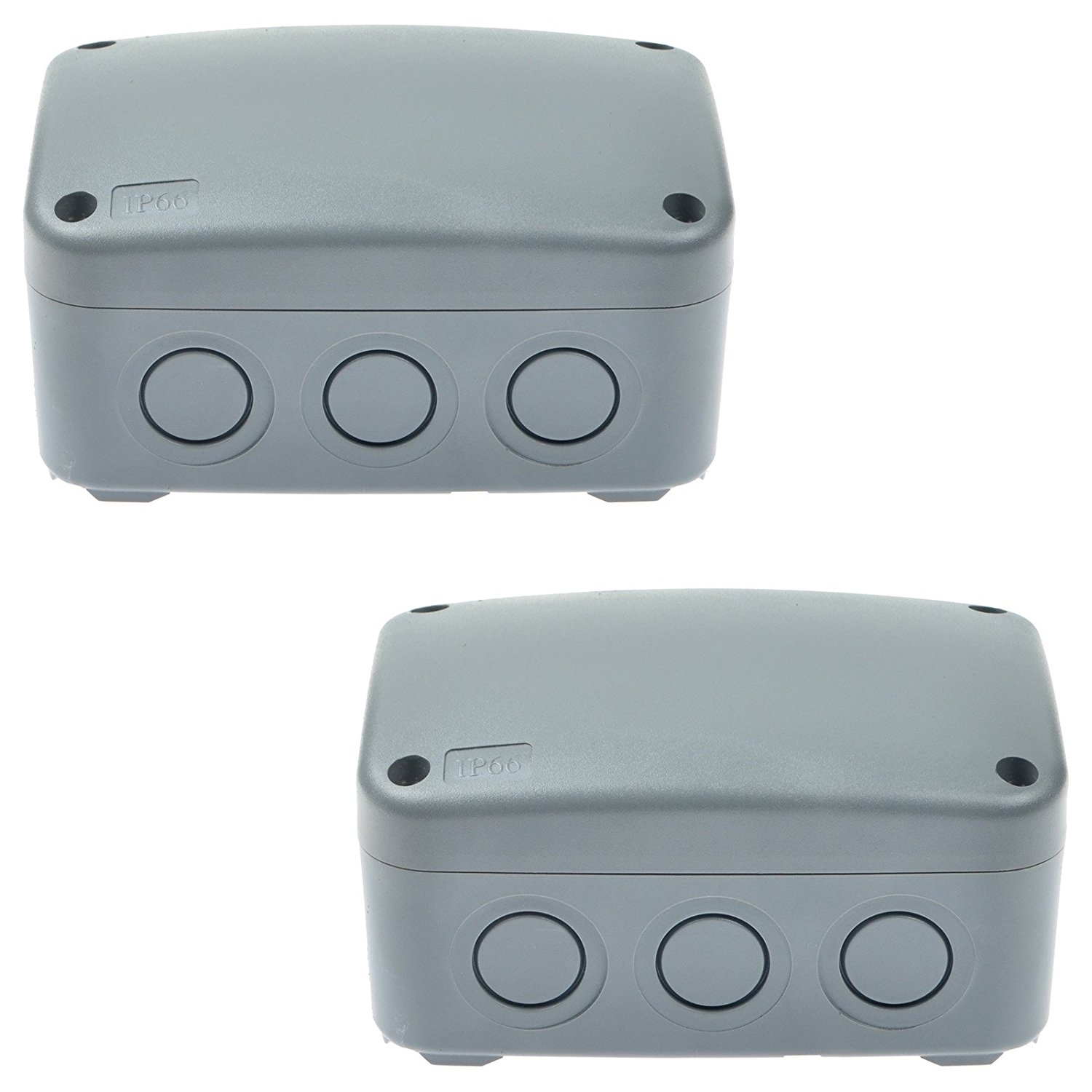 GREENCYCLE 2 Pack IP66 Rated Plastic Weatherproof Junction Box Fit for Outdoor Use, 1258662mm