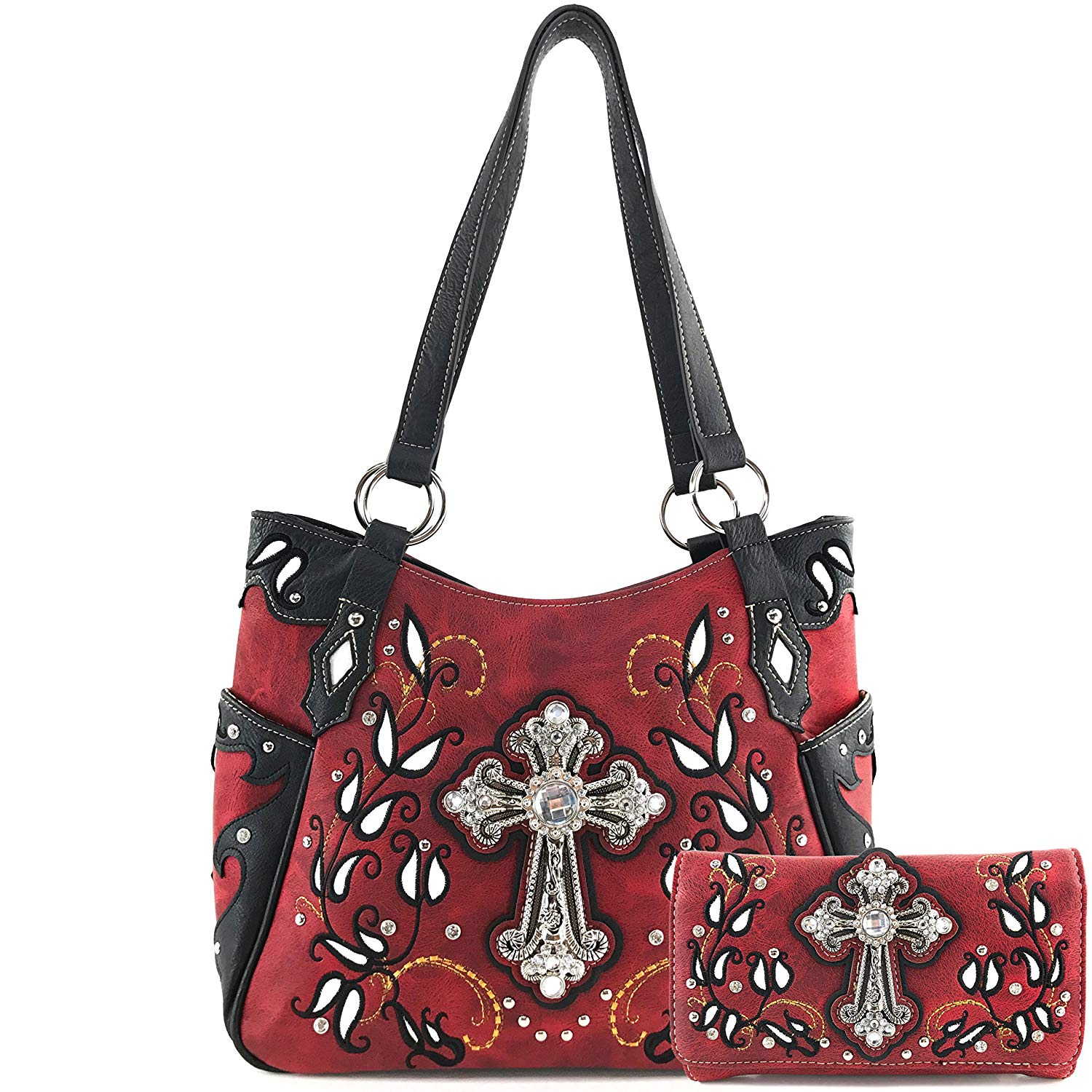 Get Quotations Justin West Western Fl Rhinestone Side Pocket Cross Slim Handle Conceal Carry Handbag Purse Tote And