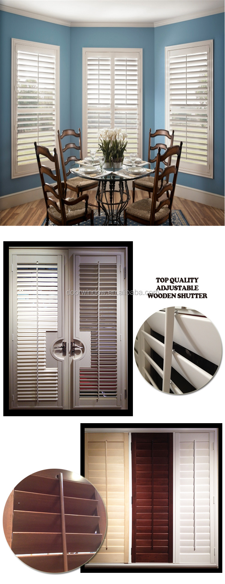 Adjustable exterior shutters acoustic louver