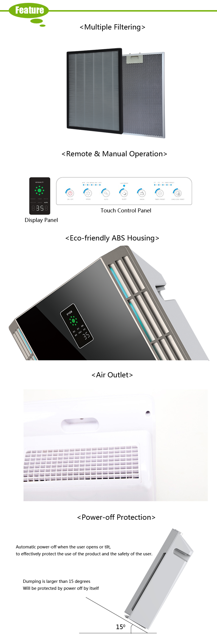 High Quality Kitchen Hepa Ionizer Air Cleaner For Home-OLS-K04C