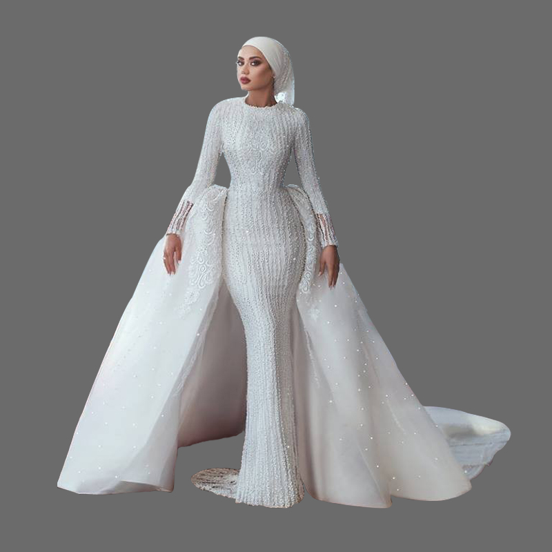 ccaff18269541 Long Sleeve Wedding Dress Muslim Wedding Dresses 2018 Modest Bride Latest  Designs Bridal Gown with Hijab