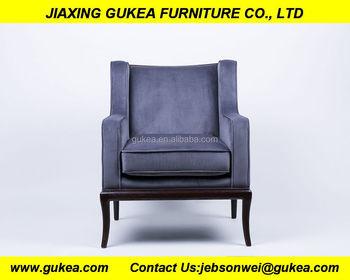 wooden frame armchair with high quality grey velvet - Wood Frame Armchair