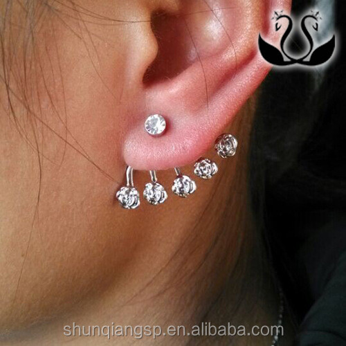 Fashion vinatge Woman latest fashion silver plated earrings