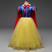 Wholesale Children The new Snow White dress Girls newest design fashion princes dress with long shawl and gold floral