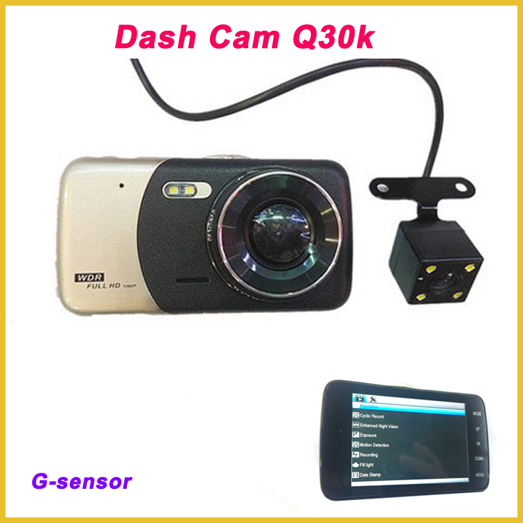 "Hot sale best two camera with 5.0""screen lcd car dvr g-sensor Q30K 1080p dash cam user manual"