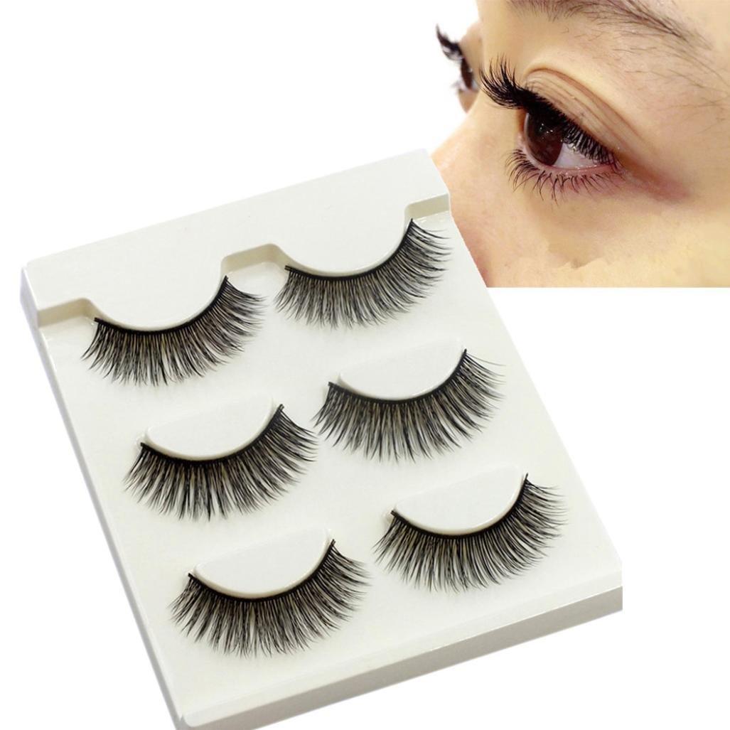 Buy Eye Lashes Dzt1968 3pairs Long Cross Curly False Eyelashes