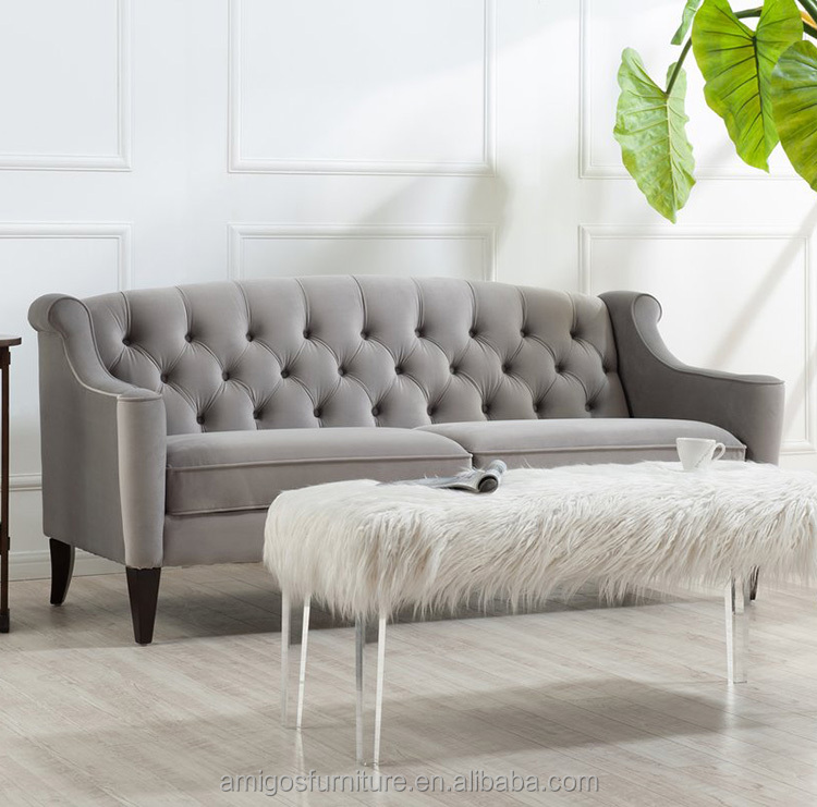 Rolled Arms Nail Head Tufted Velvet