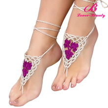 New design low price ladies sandals crochet barefoot sandals wholesale no moq