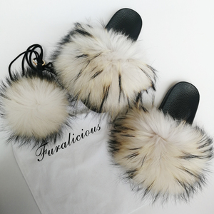 Custom Made Logo Slippers Package Set More Fluffy Real Raccoon Fur Slides Slippers for Women