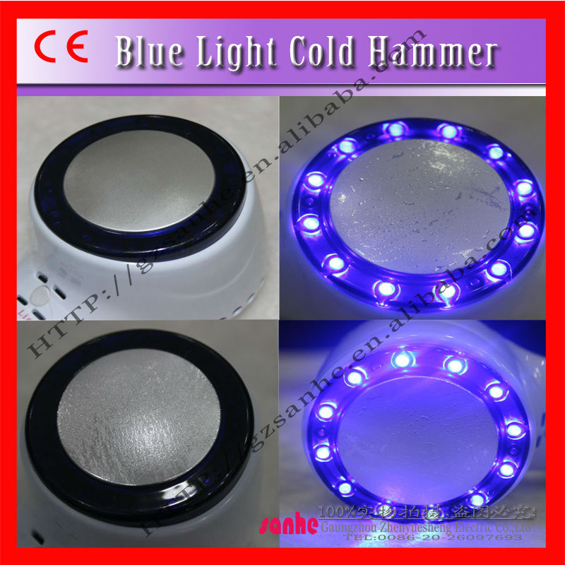 Hand-held blue light cold hammer beauty machine for Breast Full-grown ,Facial ,shoulder,Arms,Legs,abdomen buttock& Back Therapy