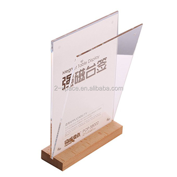 8.5x11'' Price Menu Holder Stand Double Sided Crystal Sign Holder Acrylic Magnetic Sign Holder with Wood Bottom