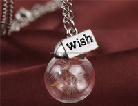 Glass bottle necklace Natural dandelion seed in glass long necklace Make A Wish Glass Bead Orb silver plated Necklace