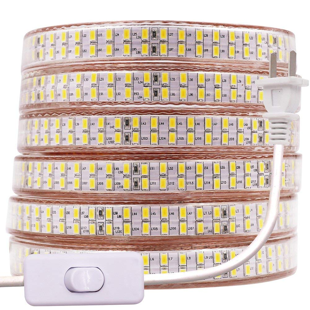 XUNATA 49.2ft Waterproof LED Strip Rope Light with Power Switch, Super Bright Double Row 3600 Units SMD 5730 AC 110V Flexible LED Strip Lights for Home Garden Outdoor Decoration(Warm Whiht)