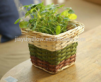 Handmade plastic lined plant basket plant pot wood flower basket