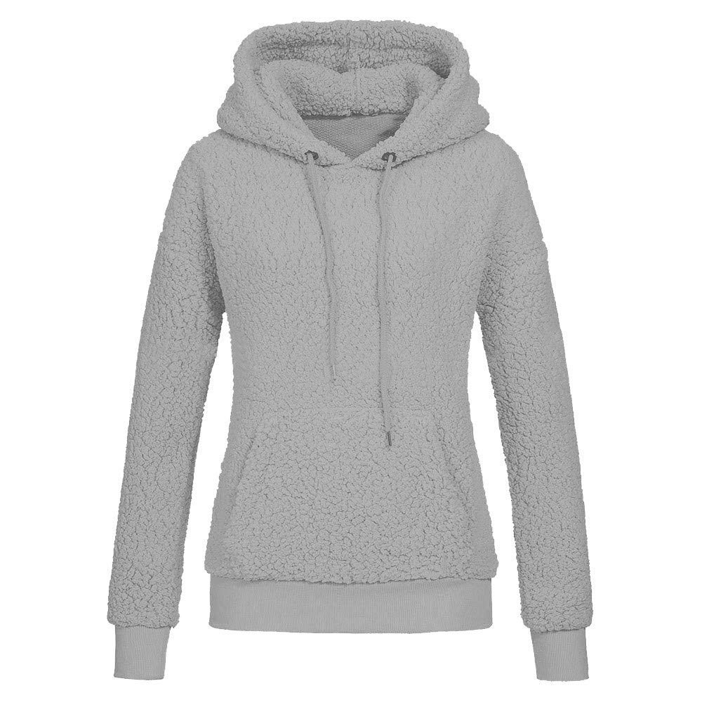 8e36eca242c Get Quotations · Womens Fleece Hoodies Sweatshirts Casual Long Sleeve Warm  Drawstring Tunic Hooded Pullover Jumper Blouse Tops Shirts