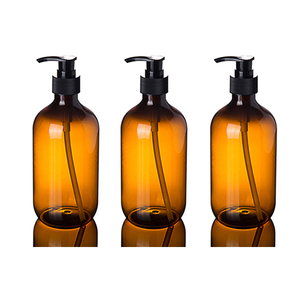 Fuyun amber empty 300ml shampoo bottles plastic lotion pump bottles