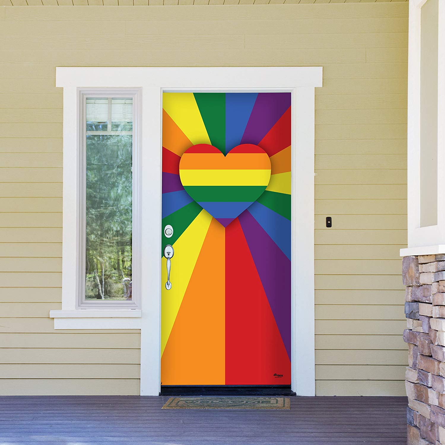 "Victory Corps Heart Rays - Outdoor PRIDE LGBT Garage Door Banner Mural Sign Décor 36"" x 80"" Front Door -The Original Holiday Front Door Banner Decor"