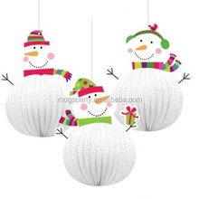 Christmas Joyful Snowman Paper Hanging 3D Decoration 3 Pack