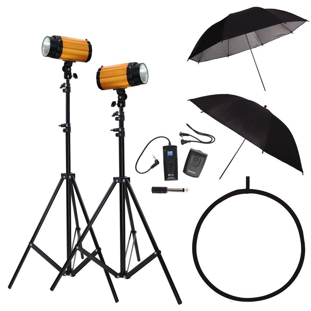 "Neewer Photography Photo Studio Lighting Kit 500W - (2) 250SDI Golden Studio Flash Strobe Lights, (2) 190CM Light Stands, (2) 33 Inch Umbrellas, RT-16 Wireless Trigger & Receiver Set, 32""/80cm 5-in-1 Collapsible Reflector"