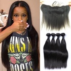 grade 9A human hair brazilian virgin cuticle aligned hair lace frontal human lace wig double drawn hair bundles