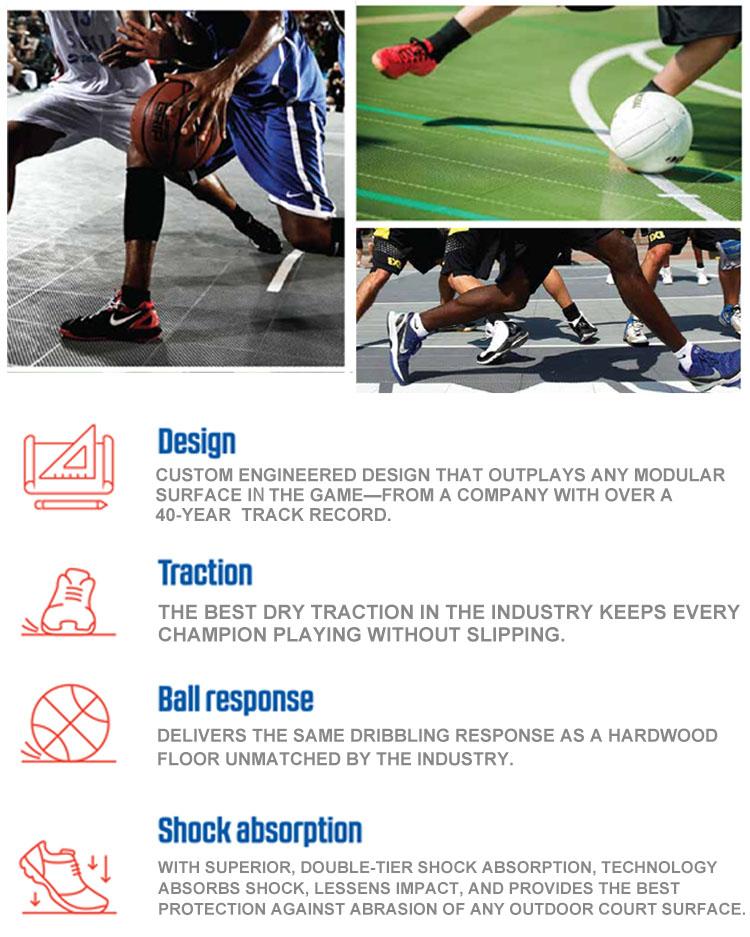 Milieu conservation outdoor basketbal vloeren, verwijderbare basketbal hof, basketbal hof vloeren materiaal