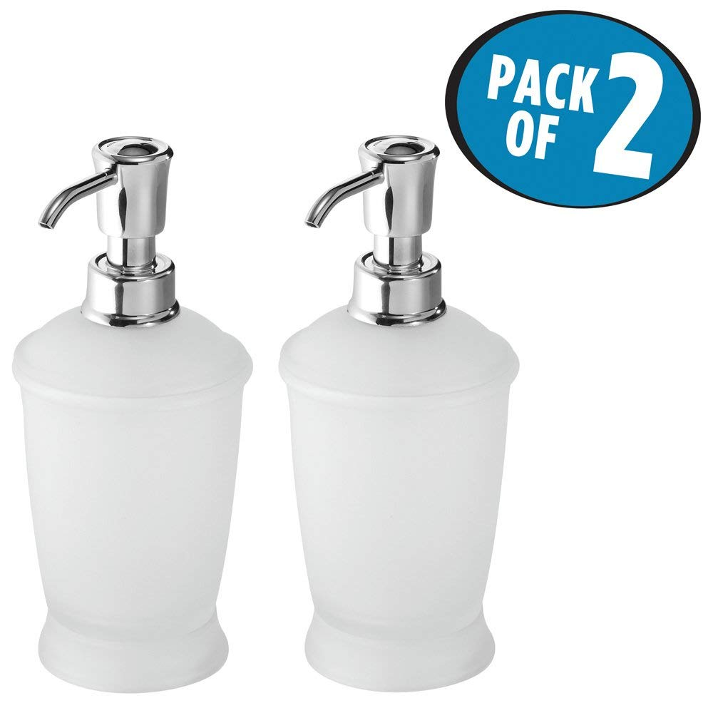 mDesign Liquid Hand Soap Dispenser Pump Bottle for Kitchen, Bathroom | Also Can be Used for Hand Lotion & Essential Oils - Pack of 2, Clear Frosted/Chrome