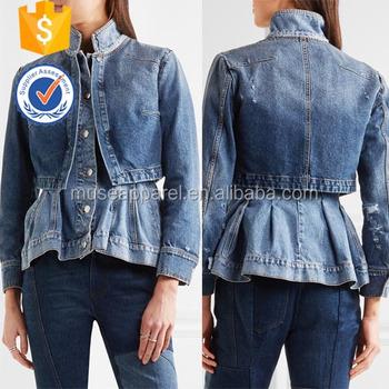 0a4de1e1e05 Layered Denim Peplum Jacket Coat Women OEM ODM Apparel Garment Clothing  Customized Design