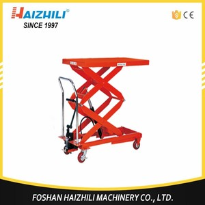 China 800kg manual scissor lift table cart, manual pallet hydraulic lift table for sale