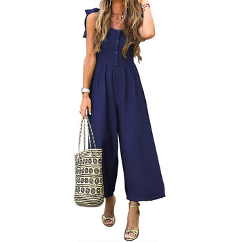 Top Selling Button Down Sleeveless Wide Leg Custom Made One Piece Spandex Jumpsuit