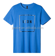 fashionable royal blue cotton spandex shirt custom rubber print t shirts