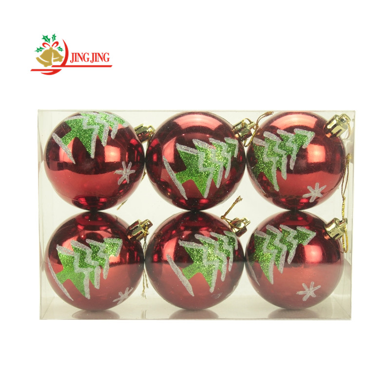 2017 Hot Sale Hand Painted with Xmas Tree Pattern Christmas Ball Ornament
