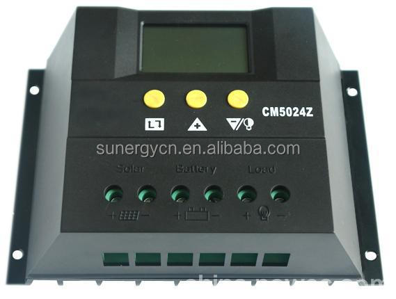 30A 50A solar charge controller PWM charging light control time control 12V 24V 48V LCD display